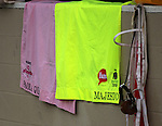 LOUISVILLE, KY - MAY 04: Saddle cloths of Paola Queen (Kentucky Oaks) and Majesto (Kentucky Derby) in front of the Gustavo Delgado Stable at Churchill Downs, Louisville, KY. Both are owned by Grupo 7C Racing Stable and trained by Gustavo Delgado. (Photo by Mary M. Meek/Eclipse Sportswire/Getty Images)