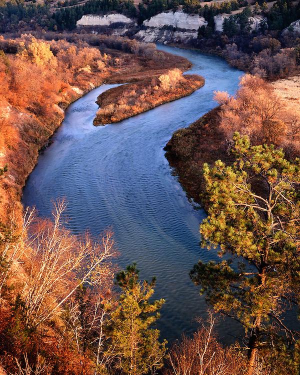 Sunrise light on fall color along the National Wild & Scenic Niobrara River; Cherry County, NE