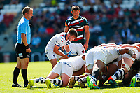 5th June 2021; Mattioli Woods Welford Road Stadium, Leicester, Midlands, England; Gallagher Premiership Rugby, Leicester Tigers versus Bristol Bears; Harry Randall of Bristol Bears puts the ball into a scrum under the watchful eye of Referee Ian Tempest and Ben Youngs of Leicester Tigers