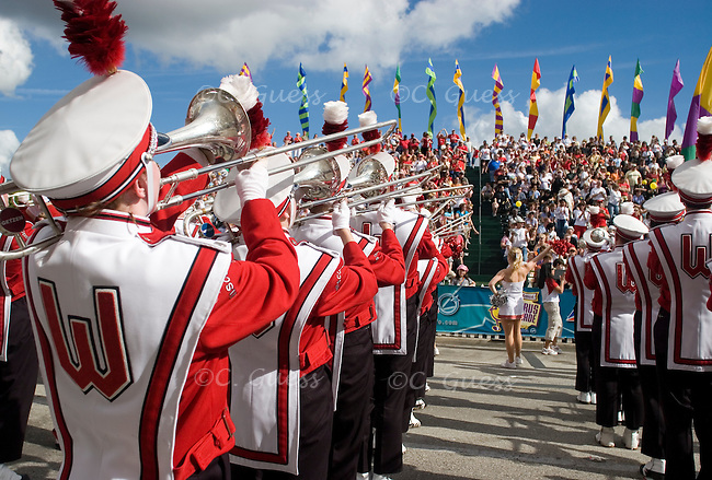 The University of Wisconsin Marching Band performs in full formation in front of the sold out, bleacher section of the parade route. The entire route was strung from beginning to end with spectators from across the country, however, the bleachers were for paying ticket holders only.