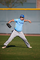 Riley Covington (13) of Liberty North High School in Kansas City, Missouri during the Baseball Factory All-America Pre-Season Tournament, powered by Under Armour, on January 13, 2018 at Sloan Park Complex in Mesa, Arizona.  (Mike Janes/Four Seam Images)