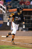 Irving Ortega (13) of the Aberdeen IronBirds hustles down the first base line against the Hudson Valley Renegades at Leidos Field at Ripken Stadium on July 27, 2017 in Aberdeen, Maryland.  The IronBirds defeated the Renegades 3-0 in game two of a double-header.  (Brian Westerholt/Four Seam Images)