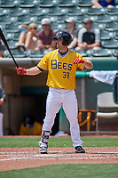 Scott Schebler (33) of the Salt Lake Bees at bat against the Las Vegas Aviators at Smith's Ballpark on June 27, 2021 in Salt Lake City, Utah. The Aviators defeated the Bees 5-3. (Stephen Smith/Four Seam Images)