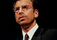 Montreal, March , 1999 File Photo<br /> Seagrams CEO Edgar Bronfman Jr. giving a speech about the changes in Seagram's (from a liquor toward entertainment company) to the Canadian Club in Montreal (Quebec, Canada) on March 8 1999<br /> <br /> NOTE : New (and improved scan)<br /> <br /> PHOTO :  Agence Quebec Presse