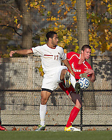 Boston College forward Charlie Rugg (17) and Rutgers University defender Joe Setchell (2) battle for a corner kick. Rutgers University defeated Boston College in penalty kicks after two overtime periods in NCAA Division I tournament action, at Newton Campus Field, November 20, 2011.