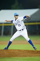 Burlington Royals relief pitcher Alex Luna (21) in action against the Bluefield Blue Jays at Burlington Athletic Park on July 1, 2015 in Burlington, North Carolina.  The Royals defeated the Blue Jays 5-4. (Brian Westerholt/Four Seam Images)