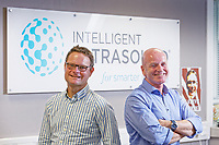 Pictured: Stuart Gall, CEO (R) and Nicholas Sleep, chief technical officer (L). Monday 01 July 2019<br /> Re: Intelligent Ultrasound in Cardiff, Wales, UK.