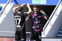 24th April 2021; The Kiyan Prince Foundation Stadium, London, England; English Football League Championship Football, Queen Park Rangers versus Norwich; Xavi Quintilla of Norwich City celebrates his goal with Emi Buendia for 0-1 in the 32nd minute