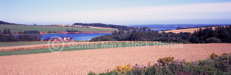 French River, PEI, Prince Edward Island, Canada - Rye Field and Farming Country surround a Fishing Village, Panoramic View