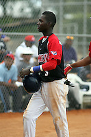 Michael DeLeon participates in the Dominican Prospect League showcase at the New York Yankees academy on September 19,2013 in Boca Chica, Dominican Republic.