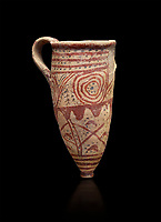 Cycladic conical rhython with spiral decorations.   Cycladic (1650-1450 BC) , Phylakopi III, Melos. National Archaeological Museum Athens.  Cat no 5791. Black background.<br /> <br /> <br /> Ceramic shapes and painted style are heavily influenced by Minoan styles during this period. Dark floral and spiral patterns are painted over a lighted backgound with wavy bands.