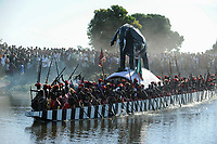 Africa ZAMBIA Barotseland , Zambezi floodplain , Kuomboka ceremony in Limulunga, the Lozi king Lubosi Imwiko II. also called Litunga, change his residence after raining time with the royal bark Nalikwanda  to his palace in Limulunga