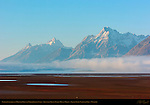 Exposed Lakebed and Morning Fog over North Jackson Lake, Teewinot, Grand Teton, Mount Moran, Grand Teton National Park, Wyoming