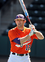 Clemson outfielder Wilson Boyd (12) prior to a game between the Clemson Tigers and South Carolina Gamecocks Saturday, March 6, 2010, at Fluor Field at the West End in Greenville, S.C. Photo by: Tom Priddy/Four Seam Images