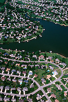 Aerial view of a lakefront suburban neighborhood. Topeka, Kansas.
