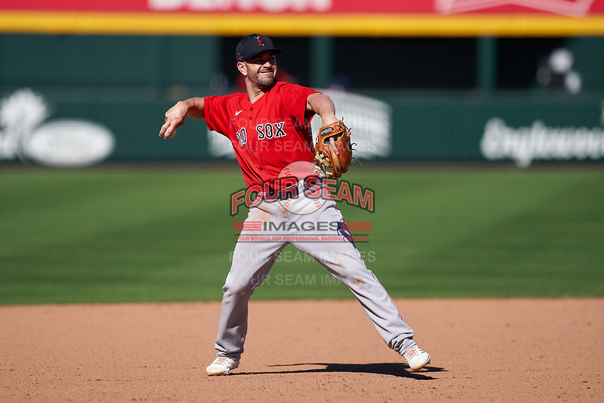 Boston Red Sox third baseman Chad De La Guerra (95) throws to first base during a Major League Spring Training game against the Atlanta Braves on March 7, 2021 at CoolToday Park in North Port, Florida.  (Mike Janes/Four Seam Images)