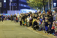 """Pictured: Locals gather on Princess Street to watch the Christmas parade in Swansea, Wales, UK. Sunday 19 November 2018<br /> Re: Swansea Christmas parade attended by thousands has been branded a """"shambles"""" for having just three floats.<br /> The annual festive event in south Wales, which took place on Sunday, promised """"dynamic dance-troupes"""" as well as """"spectacular shows and stages"""".<br /> But the parade was scaled down, leading to a barrage of criticism on social media because of roadworks in the city centre. <br /> The leader of Swansea Council, Rob Stewart apologised on Facebook and said the parade was not """"good enough"""".<br /> Parents took on social media to voice their anger, calling the event """"a load of rubbish"""" and claiming there was nothing for young children apart from """"a loud music float with Santa on""""."""