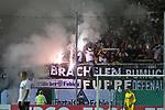 09.08.2019, BWT-Stadion am Hardtwald, Sandhausen, GER, DFB Pokal, 1. Runde, SV Sandhausen vs. Borussia Moenchengladbach, <br /> <br /> DFL REGULATIONS PROHIBIT ANY USE OF PHOTOGRAPHS AS IMAGE SEQUENCES AND/OR QUASI-VIDEO.<br /> <br /> im Bild: Pyro Feuerwerkskoerper im Block der Gladbacher<br /> <br /> Foto © nordphoto / Fabisch