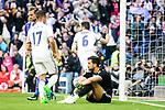 Real Madrid's Nacho Fernandez and Deportivo Alaves's Fernando Pacheco during La Liga match between Real Madrid and Deportivo Alaves at Stadium Santiago Bernabeu in Madrid, Spain. April 02, 2017. (ALTERPHOTOS/BorjaB.Hojas)