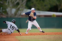 Bethel Wildcats second baseman Parker Mullenbach (22) during the first game of a double header against the Edgewood Eagles on March 15, 2019 at Terry Park in Fort Myers, Florida.  Bethel defeated Edgewood 6-0.  (Mike Janes/Four Seam Images)