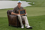 """Mikko Ilonen was asked by Ballantine's at the BMW Masters to describe how he stays true to himself; his answer is shown. Ballantine's, who recently announced their new global marketing campaign, """"Stay True, Leave An Impression"""", is a sponsor at the BMW Masters, which takes place from the 24-27 October at Lake Malaren Golf Club in Shanghai.  Photo by Andy Jones / The Power of Sport Images for Ballantines."""