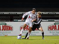 Chicago Fire midfielder Cuauhtemoc Blanco (10) shields the ball against DC United defender Bryan Namoff (26). DC United tied The Chicago Fire 0-0, at RFK Stadium in Washington DC, on Saturday October 13, 2007.