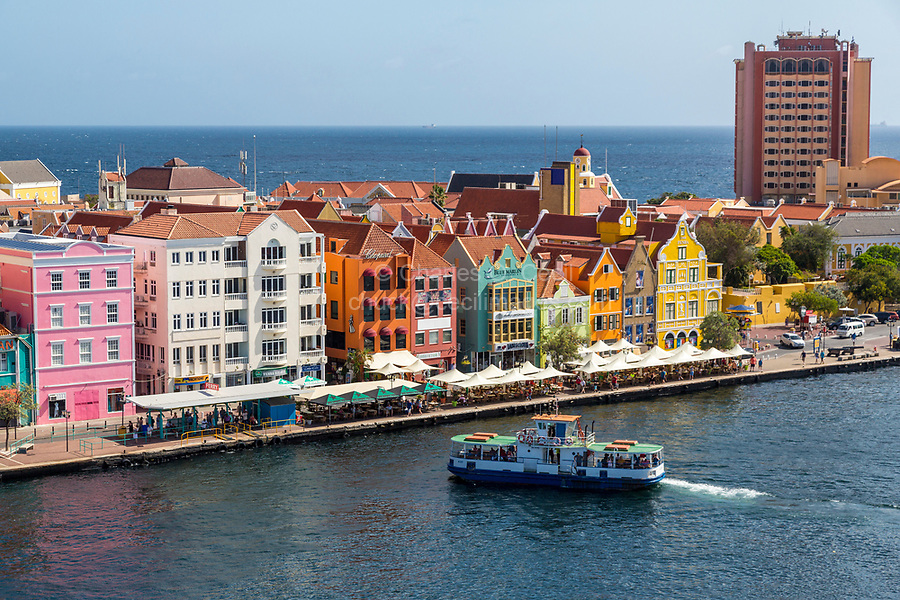 Willemstad, Curacao, Lesser Antilles.  Passenger Ferry Arriving on Punda Side of Town.