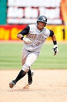 June 25, 2009:  Center Fielder Gorkys Hernandez (3) of the Altoona Curve goes from first to third running the bases during a game at Jerry Uht Park in Erie, PA.  The Altoona Curve are the Eastern League Double-A affiliate of the Pittsburgh Pirates.  Photo by:  Mike Janes/Four Seam Images