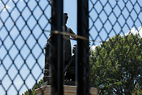 The Emancipation Memorial is seen behind additional fencing at Lincoln Park in Washington D.C., U.S. on Monday, June 29, 2020.  Many demonstrators have called for the removal of the statue in recent weeks. Photo Credit: Stefani Reynolds/CNP/AdMedia