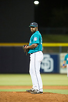 AZL Mariners relief pitcher Jamal Wade (29) prepares to deliver a pitch to the plate against the AZL Royals on July 29, 2017 at Peoria Stadium in Peoria, Arizona. AZL Royals defeated the AZL Mariners 11-4. (Zachary Lucy/Four Seam Images)