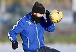 St Johnstone Training…. 29.12.20<br />Stevie Maystruggles to see in the harsh sun during training at McDiarmid Park this morning ahead of tomorrows game against Hamilton<br />Picture by Graeme Hart.<br />Copyright Perthshire Picture Agency<br />Tel: 01738 623350  Mobile: 07990 594431