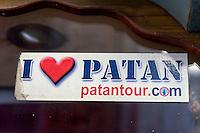 Nepal, Patan.  I Love Paten Banner.