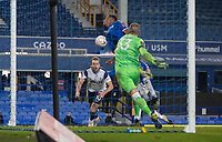 10th February 2021, Goodison Park, Liverpool, England;  Tottenham Hotspurs Harry Kane dives in and scores a headed goal during the FA Cup 5th round match between Everton FC and Tottenham Hotspur FC at Goodison Park