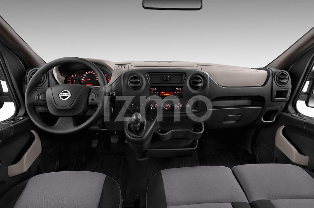 Stock photo of straight dashboard view of 2016 Nissan NV400-Combi l1h1-Optima 5 Door Passenger Van Dashboard