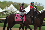 April 10, 2015: Jockey John Velazquez aboard #2 Untapable during post parade of the Apple Blossom Handicap at Oaklawn Park in Hot Springs, AR. Justin Manning/ESW/CSM