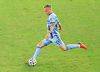 WASHINGTON, DC - SEPTEMBER 06: Gudmundur Thórarinsson #20 of New York City FC crosses the ball during a game between New York City FC and D.C. United at Audi Field on September 06, 2020 in Washington, DC.