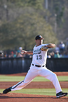 Anthony Meo #13 of the Coastal Carolina University Chanticleers pitching against the Boston College Eagles at Watson Stadium at Vrooman Field in Conway, South Carolina on February 18, 2011. Photo by Robert Gurganus/Four Seam Images