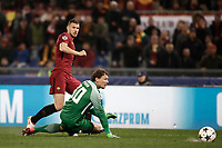 Football Soccer: UEFA Champions League  Round of 16 Second Leg, AS Roma vs FC Shakhtar Donetsk, Stadio Olimpico Rome, Italy, March 13, 2018. <br /> Roma's Edin Dzeko (r) scores contrasted by Shakhtar Donetsk's goalkeeper Andriy Pyatov (l) during the Uefa Champions League football soccer match between AS Roma and FC Shakhtar Donetsk at Rome's Olympic stadium, March 13, 2018.<br /> UPDATE IMAGES PRESS/Isabella Bonotto