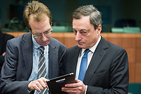 Mario Draghi, President of the European Central Bank  at the start of a Eurogroup with European Finance Ministers meeting at EU council headquarters in Brussels, Belgium on 26.01.2015 The Eurogroup's meeting focus on Greece, after  leftist anti-bailout party SYRIZA won parliamentary elections by Wiktor Dabkowski
