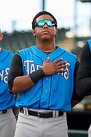 Tampa Tarpons Daniel Barrios (10) during the national anthem before a game against the Bradenton Marauders on August 12, 2018 at LECOM Park in Bradenton, Florida.  The game was suspended in the bottom of the first inning due to weather.  (Mike Janes/Four Seam Images)