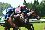 Better Lucky & Eddie Castro (no.1) win a hard fought battle to win the Grade II Sands Point Stakes for 3-year old fillies, 1 1/16 mile on the inner turf at Belmont Park. Trainer Tom Albertrani. Owner Darley Stable.
