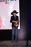 Layn Claxton during the bareback and saddle bronc back  number  presentation at the Junior World Finals Rodeo. Photo by Andy Watson. Written permission must be  provided  to use  this  photo  in any manner.