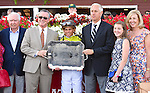 Red Rifle (no. 1), ridden by Javier Castellano and trained by Todd Pletcher, wins the 57th running of the grade 2 Bowling Green Handicap for four year olds and upward on August 1, 2015 at Saratoga Race Course in Saratoga Springs, New York. (Bob Mayberger/Eclipse Sportswire)