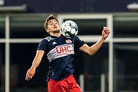 FOXBOROUGH, MA - AUGUST 5: Justin Rennicks #12 of New England Revolution II collects a pass during a game between North Carolina FC and New England Revolution II at Gillette Stadium on August 5, 2021 in Foxborough, Massachusetts.