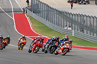 3rd October 2021; Austin, Texas, USA;  Marc Marquez of Spain and Repsol Honda Team leading the field into turn 1 during the MotoGP Red Bull Grand Prix of the Americas  at Circuit of The Americas in Austin, Texas.