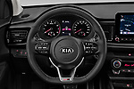 Car pictures of steering wheel view of a 2021 KIA Rio GT-Line 5 Door Hatchback Steering Wheel
