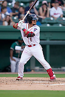 Catcher Jaxx Groshans (1) of the Greenville Drive in a game against the Greensboro Grasshoppers on Tuesday, July 20, 2021, at Fluor Field at the West End in Greenville, South Carolina. (Tom Priddy/Four Seam Images)