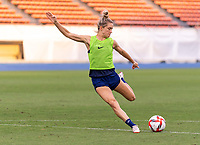 TOKYO, JAPAN - JULY 20: Kristie Mewis #6 of the USWNT takes a shot during a training session at the practice fields on July 20, 2021 in Tokyo, Japan.