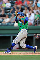 Shortstop Humberto Arteaga (1) of the Lexington Legends in a game against the Greenville Drive on Thursday, April 24, 2014, at Fluor Field at the West End in Greenville, South Carolina. Greenville won, 9-4. (Tom Priddy/Four Seam Images)