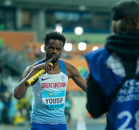 1st May 2021; Silesian Stadium, Chorzow, Poland; World Athletics Relays 2021. Day 1; Yousif Rabah pre race poses for the camera before the mixed 4 x 400 for Team GB